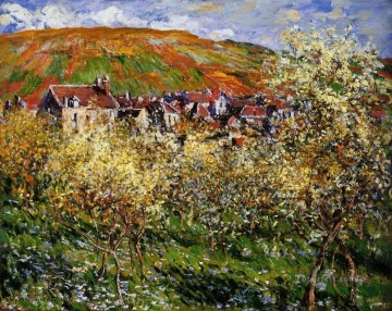 blossom Painting - Plum Trees in Blossom at Vetheuil Claude Monet scenery
