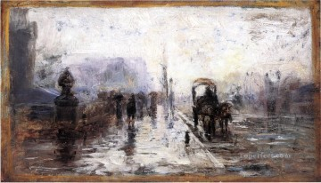 indiana - Street Scene with Carriage Impressionist Indiana landscapes Theodore Clement Steele