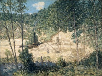 building Painting - The Building of the Dam impressionist landscape Julian Alden Weir
