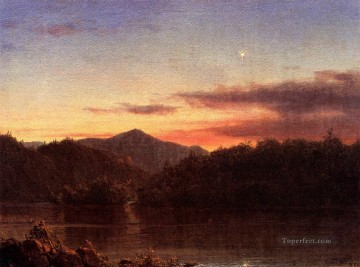 The Evening Star scenery Hudson River Frederic Edwin Church Oil Paintings