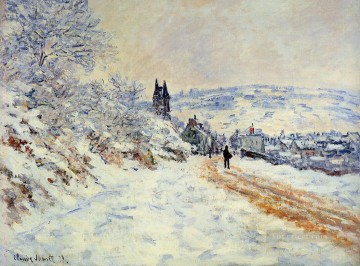 The Road to Vetheuil Snow Effect Claude Monet scenery Oil Paintings