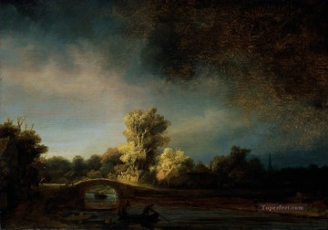 The Stone Bridge 1638 Rembrandt scenery Oil Paintings