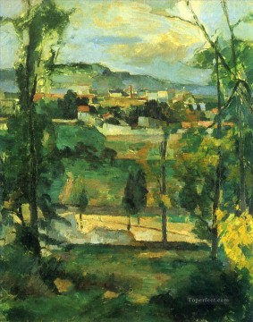 Plain Scenes Painting - Village behind Trees Paul Cezanne scenery