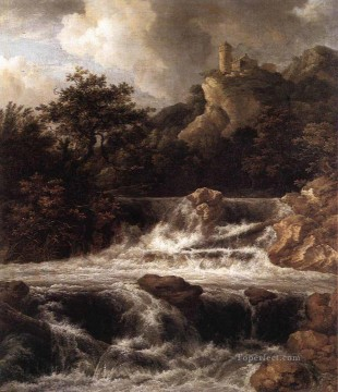 waterfall Painting - Waterfall With Castle Built On The Rock landscape Jacob Isaakszoon van Ruisdael