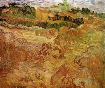 KG Art - Wheat Fields with Auvers in the Background Vincent van Gogh scenery