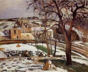 the effect of snow at l hermitage pontoise 1875 Camille Pissarro scenery Oil Paintings