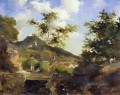 village at the foot of a hill in saint thomas antilles Camille Pissarro scenery