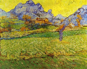 Meadow Art - A Meadow in the Mountains Vincent van Gogh scenery