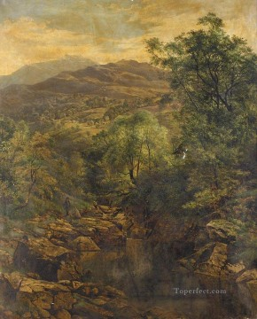Loch Painting - A Quiet Pool in Glenfalloch landscape Benjamin Williams Leader