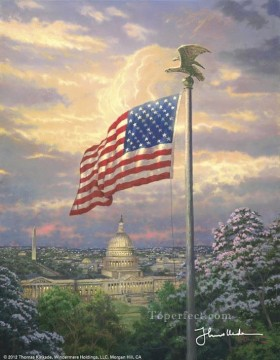 America Pride Thomas Kinkade scenery Oil Paintings