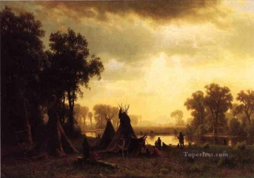 An Indian Encampment Albert Bierstadt Oil Paintings