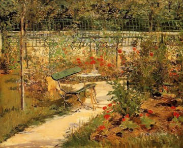 Bench Painting - Bench in autumn Eduard Manet scenery