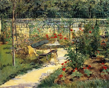 Bench Painting - Bench in summer Eduard Manet scenery