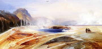 thomas kinkade Painting - Big Springs in Yellowstone Park landscape Thomas Moran