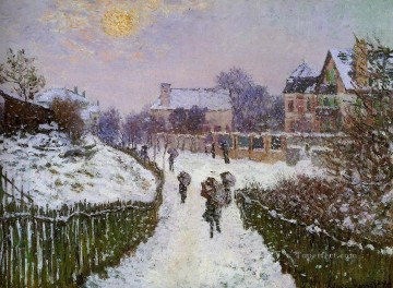 Argenteuil Canvas - Boulevard St Denis Argenteuil Snow Effect Claude Monet scenery