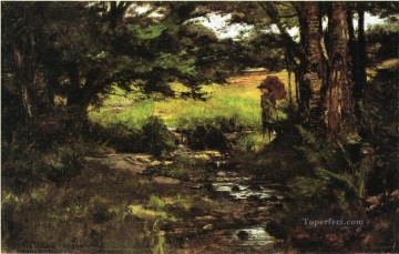 Brook in Woods Impressionist Indiana landscapes Theodore Clement Steele Oil Paintings