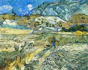 Enclosed Field with Peasant Vincent van Gogh scenery Oil Paintings