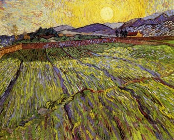 Enclosed field with rising sun Vincent van Gogh scenery Oil Paintings