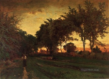 Inness Deco Art - Evening Landscape George Inness