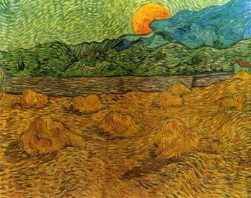 evening Works - Evening Landscape with Rising Moon Vincent van Gogh