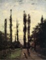 Evening Poplars Impressionist Indiana landscapes Theodore Clement Steele