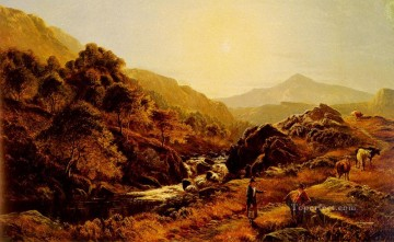 stream Painting - Figures On A Path By A Rocky Stream landscape Sidney Richard Percy