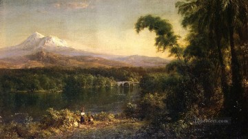 Figures in an Ecuadorian Landscape scenery Hudson River Frederic Edwin Church Oil Paintings