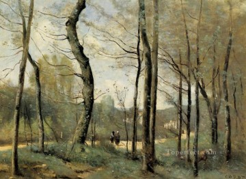 Leaves Art Painting - First Leaves near Nantes Jean Baptiste Camille Corot