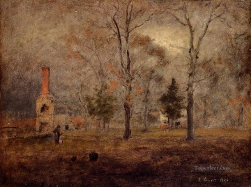 Plain Scenes Painting - Gray Day Goochland Virgnia landscape Tonalist George Inness
