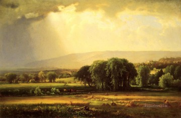Harvest Scene in the Delaware Valley landscape Tonalist George Inness Oil Paintings