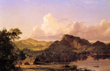 Plain Scenes Painting - Home by the Lake scenery Hudson River Frederic Edwin Church