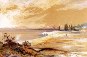 Shore Painting - Hot Springs on the Shore of Yellowstone Lake landscape Thomas Moran