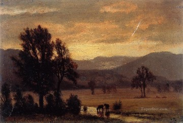 cattle bull cow Painting - Landscape with Cattle Albert Bierstadt