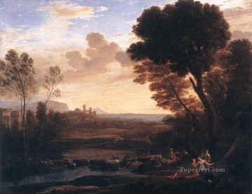 Paris Painting - Landscape with Paris and Oenone Claude Lorrain