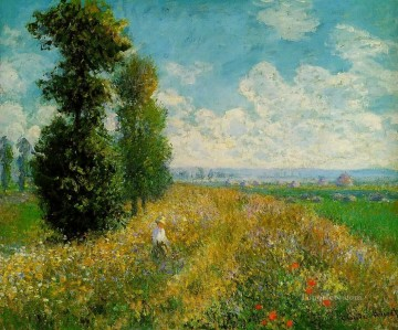 Argenteuil Canvas - Meadow with Poplars aka Poplars near Argenteuil Claude Monet scenery