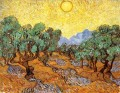 Olive Trees with Yellow Sky and Sun Vincent van Gogh scenery
