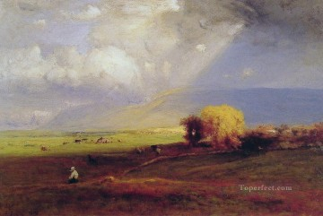 Plain Scenes Painting - Passing Clouds Passing Shower landscape Tonalist George Inness