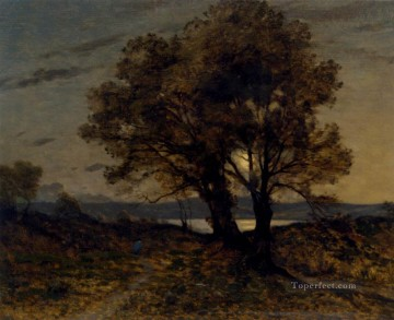 Paysage Au Clair De Lune Barbizon landscape Henri Joseph Harpignies Oil Paintings