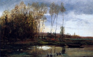 R Barbizon Impressionism landscape Charles Francois Daubigny Oil Paintings