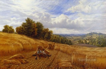 vagabonds resting in a cave Painting - Resting From The Harvest landscape Alfred Glendening