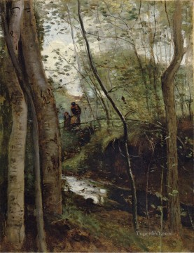 Stream in the Woods aka Un ruisseau sous bois Jean Baptiste Camille Corot Oil Paintings