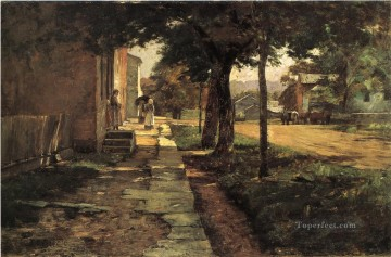 Street in Vernon Impressionist Indiana landscapes Theodore Clement Steele Oil Paintings