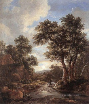 sunset sunrise Painting - Sunrise In A Wood landscape Jacob Isaakszoon van Ruisdael