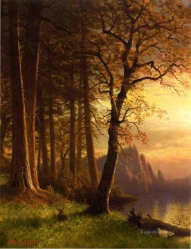 Sunset Art - Sunset in California Yosemite Albert Bierstadt