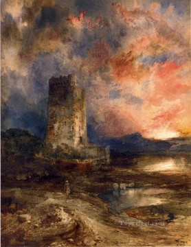 Plain Scenes Painting - Sunset on the Moor landscape Thomas Moran