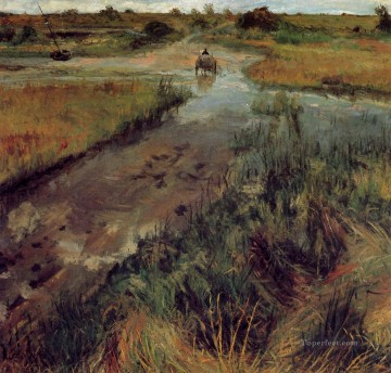 1895 Works - Swollen Stream at Shinnecock 1895 impressionism William Merritt Chase scenery