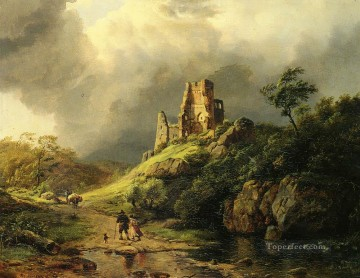 storm Works - THE APPROACHING STORM Dutch landscape Barend Cornelis Koekkoek
