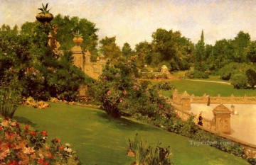 Terrace at the Mall impressionism William Merritt Chase scenery Oil Paintings