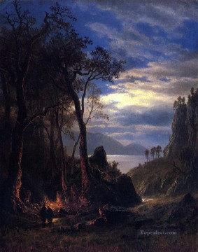 Plain Scenes Painting - The Campfire Albert Bierstadt