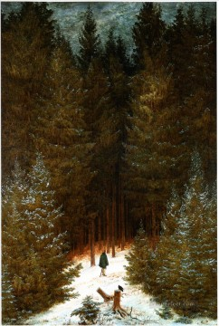 forest Canvas - The Chasseaur In The Forest Romantic landscape Caspar David Friedrich